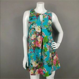 UMGEE BLUE FLORAL SLEEVELESS TUNIC WITH POCKETS